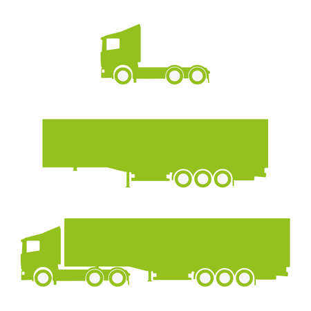 Green clean vector lorry with trailer silhouettes Illustration