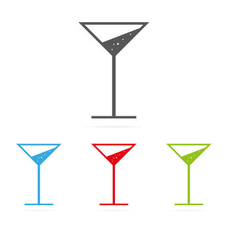 Set of color martini cocktail glass symbol icons