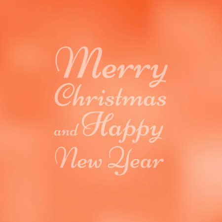 Merry Christmas and Happy New Year greetings card orange blured background Illustration