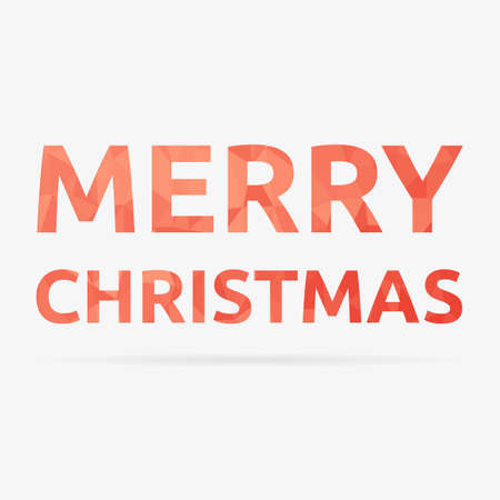 Low poly red Merry Christmas isolated text