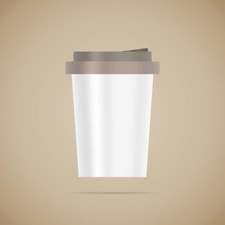 Blank white vector detailed coffee cup template on brown background Illustration
