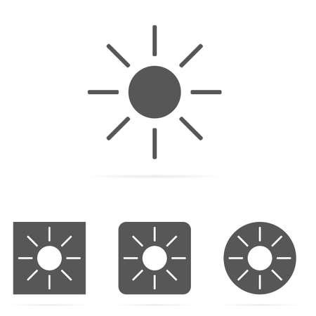 Gray vector set of sun symbol icons