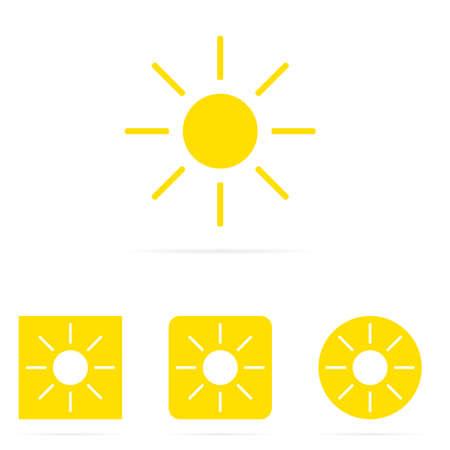 Yellow vector set of sun symbol icons