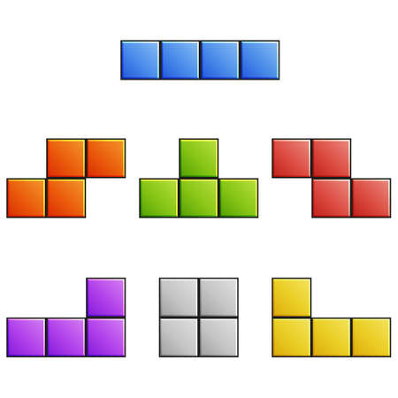 tetris: Color set of clean vector tetris elements