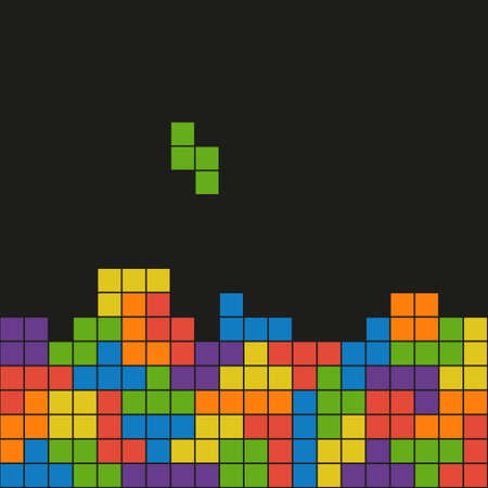 Vector flat backgroud created from tetris elements