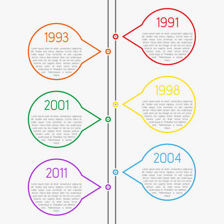Light clean modern flat vector infographic color timeline template