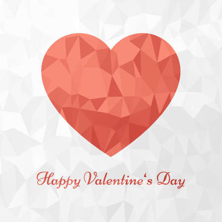 Red heart and Happy Valentines Day text on low poly background
