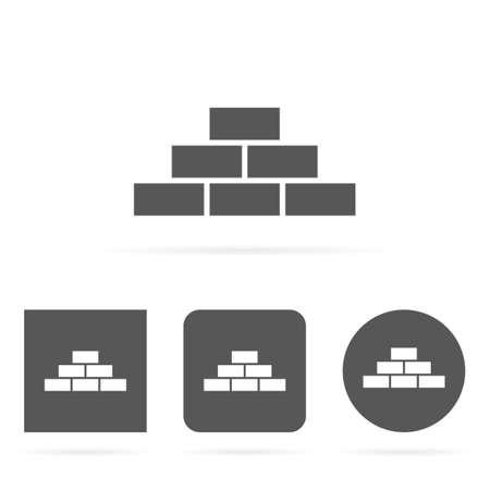 Gray clean modern brick wall symbol icons set