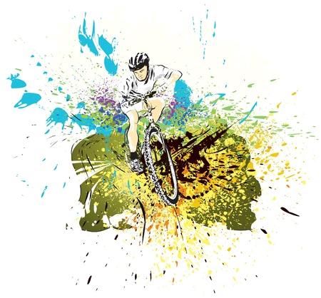 Bike rider in white shirt Vector