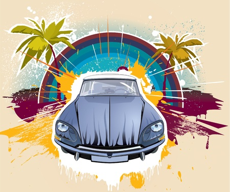 motor transport: Old car,palms, splashes, flames-like shapes are on layers