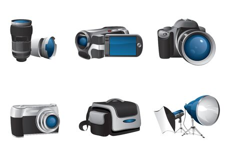 camcorder: lenses,camcorder, camera, compact camera, bag, studio lights with softbox Illustration