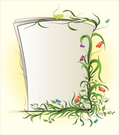 Sheet of paper with floral ornament Illustration