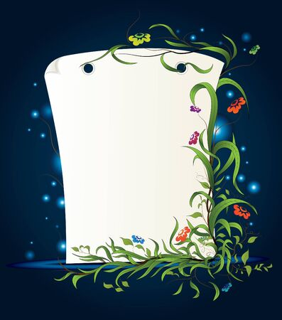firefly: Blank paper with the plant and flowers motif. Night background.