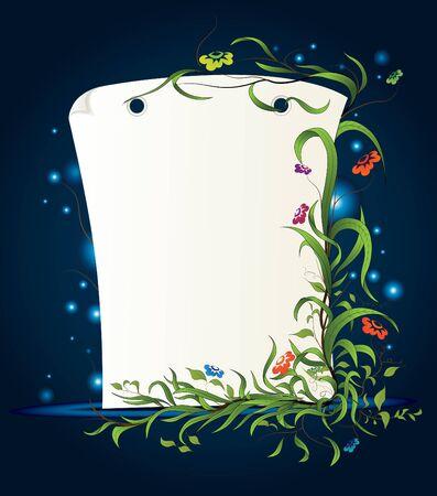 marco cumplea�os: Papel en blanco con el motivo de plantas y flores. Fondo de la noche. Vectores