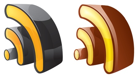 Two rss 3d icons Stock Vector - 9909927