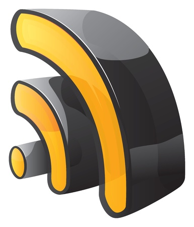 Rss black and yellow 3d icon Illustration