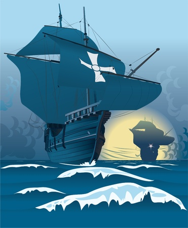 Carrack shape based on Santa Maria. Ships, sea, cloudsbackground on layers. Vector