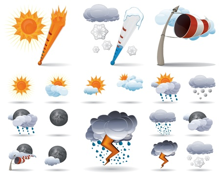 snow storm: Weather icons for day and night, with thermometer and wind symbol. Without gradient mesh.