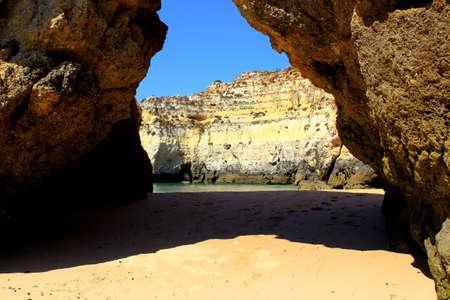 rocha: Hidden Algarve beach near Praia da Rocha Stock Photo