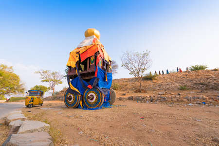 PUTTAPARTHI, ANDHRA PRADESH - INDIA - NOVEMBER 09, 2016: Indian chariot for Hindu holidays. Copy space. Space for text