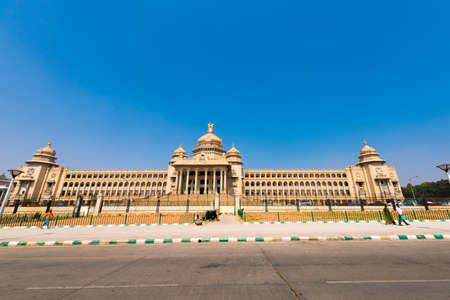 BENGALURU, KARNATAKA - INDIA - NOVEMBER 09, 2016: Main building of government of Bangalore. Street view. Copy space. Space for text