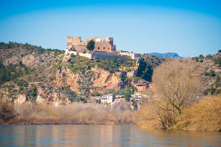Views of the castle of Miravet, Tarragona, Catalunya, Spain. Space for text. Copy space