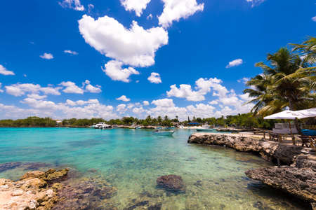 View of the stony shore in Bayahibe, La Altagracia, Dominican Republic. Copy space for text Editorial