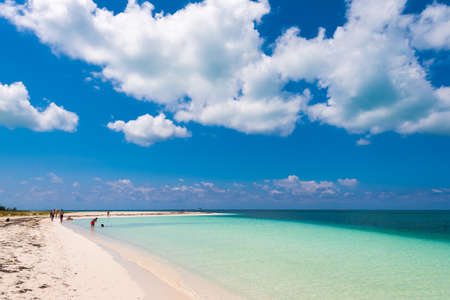 Sandy beach Playa Paradise of the island of Cayo Largo, Cuba. Copy space for text Stock Photo