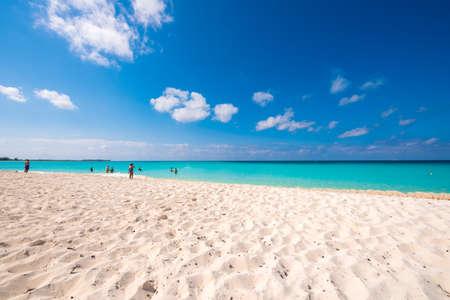 Sandy beach Playa Paradise of the island of Cayo Largo, Cuba. Copy space for text Stock Photo
