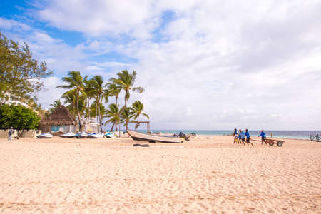 cana: PUNTA CANA, DOMINICAN REPUBLIC - MAY 22 2017: View of the sandy beach. Copy space for text