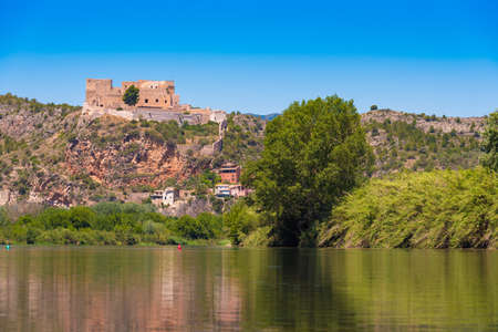 Views of the castle of Miravet, Tarragona, Catalunya, Spain. Copy space for text