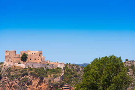 Views of the castle of Miravet, Tarragona, Catalunya, Spain. Copy space for text