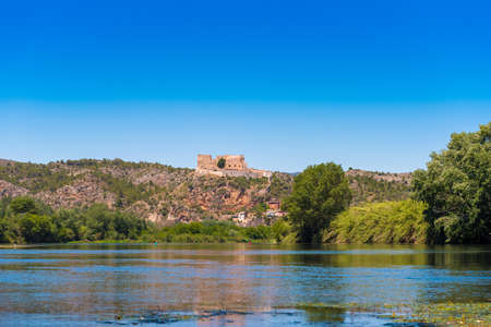 ebro: Views of the castle of Miravet, Tarragona, Catalunya, Spain. Copy space for text