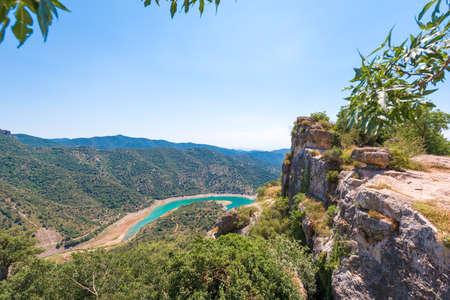 Reservoir Pantano De Siurana, Tarragona, Catalunya, Spain. Top view
