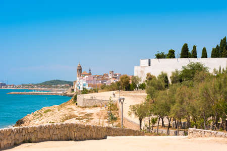 Landscape of the coastline in Sitges, Barcelona, Catalunya, Spain. Copy space for text Stock Photo