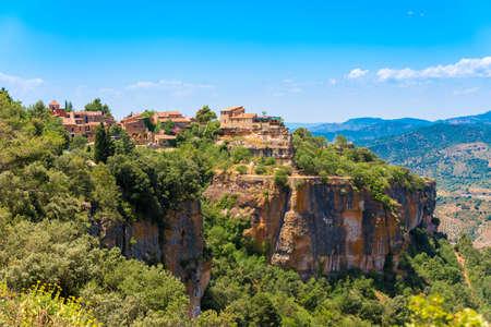 View of the village Siurana de Prades, Tarragona, Catalunya, Spain. Copy space for text Stock Photo