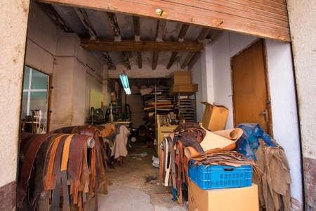 Leather workshop in Mont-roig del Camp, Tarragona, Catalunya, Spain 新闻类图片