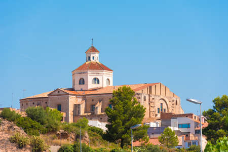 st: View of Mont-roig del Camp and the church of St. Miguel, Tarragona, Catalunya, Spain. Copy space for text