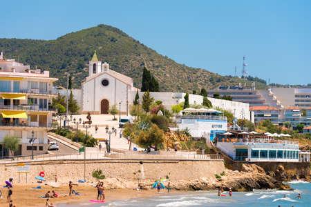 SITGES, CATALUNYA, SPAIN - JUNE 20, 2017: View of the church of Ermita de Sant Sebastia. Copy space for text