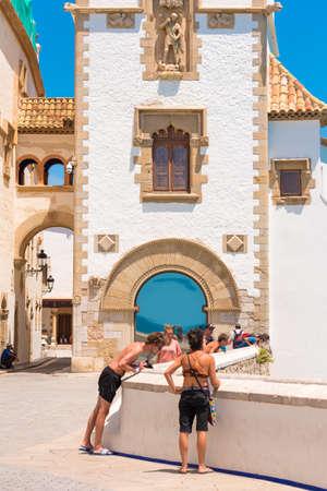 SITGES, CATALUNYA, SPAIN - JUNE 20, 2017: The building of the museum Marisel de Mar. Vertical
