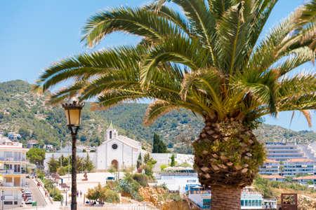 Palm tree close-up on a church background of Ermita de Sant Sebastia, Sitges, Barcelona, Catalunya, Spain