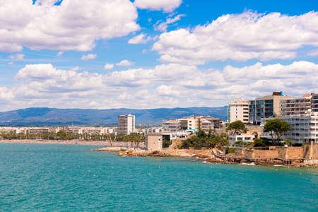 Coastline Costa Dorada, main beach in Salou, Tarragona, Catalunya, Spain. Copy space for text Stock Photo