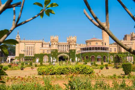 karnataka: Main buildings of Bangalore Palace, With blurred tree branches in the foreground, Bangalore, Karnataka, India Editorial