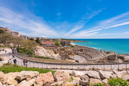 TARRAGONA, SPAIN - MAY 1, 2017: View of the ancient roman amphitheater. Copy space for text