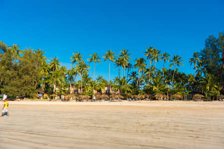 NGAPALI, MYANMAR - DECEMBER 5, 2016: Sandy beach of Ngapali. Copy space for text Imagens
