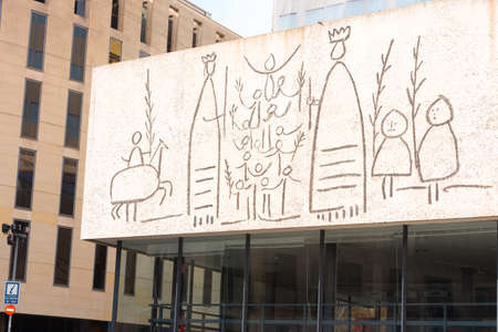 pablo picasso: BARCELONA, SPAIN - FEBRUARY 16, 2017: College of Architects of Catalonia, Picasso frieze (Collegi dArquitectes of Catalunya, Picassos ICI). Close-up Editorial