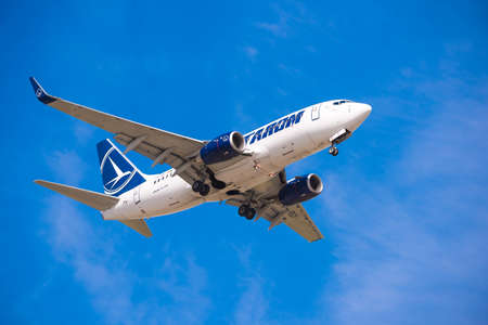 BARCELONA, SPAIN - AUGUST 20, 2016: Tarom arrives at the airport on schedule. Copy space for text