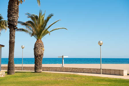 catalunya: Seafront, beach, coast in Spain in LHospitalet de lInfant, Tarragona, Catalunya, Spain. Copy space for text Stock Photo