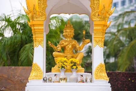PATTAYA, THAILAND - JANUARY 7, 2017: Beautiful golden Brahma statue. Pattaya, Thailand. Close-up