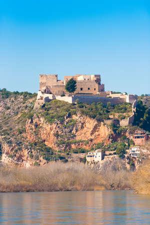 Views of the castle of Miravet, Tarragona, Catalunya, Spain. Vertical. Copy space for text